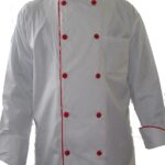 tunica de bucatar alba cu insertie rosie