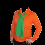 camasa portocalie supermarket cu esarfa